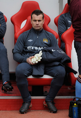 SUNDERLAND, ENGLAND - AUGUST 29: Shay Given of Manchester City sits on the bench during the Barclays Premier League match between Sunderland and Manchester City at the Stadium of Light on August 29, 2010 in Sunderland, England.  (Photo by Michael Regan/Ge