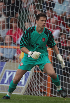 LONDON, ENGLAND - JULY 17:  Wojciech Szczesny of Arsenal during the pre-season friendly match between Barnet and Arsenal at Underhill on July 17, 2010 in London, England.  (Photo by Phil Cole/Getty Images)