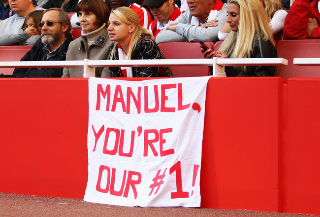 LONDON, ENGLAND - SEPTEMBER 25:  A banner in support of Arsenal goalkeeper Manuel Almunia during the Barclays Premier League match between Arsenal and West Bromwich Albion at the Emirates Stadium on September 25, 2010 in London, England.  (Photo by Julian
