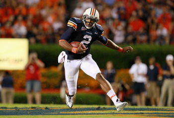 AUBURN, AL - SEPTEMBER 25:  Quarterback Cameron Newton #2 of the Auburn Tigers rushes upfield against the South Carolina Gamecocks at Jordan-Hare Stadium on September 25, 2010 in Auburn, Alabama.  (Photo by Kevin C. Cox/Getty Images)