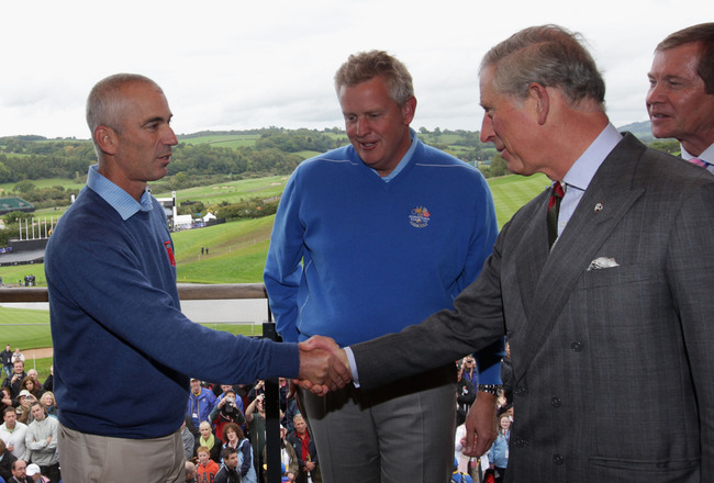 NEWPORT, WALES - SEPTEMBER 29:  Prince Charles, The Prince of Wales (R) meets USA Team Captain Corey Pavin (L) and Europe team captain Colin Montgomerie prior to the 2010 Ryder Cup at the Celtic Manor Resort on September 29, 2010 in Newport, Wales.  (Phot
