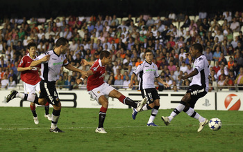 VALENCIA, SPAIN - SEPTEMBER 29:  Javier Hernandez of Manchester United scores the opening goal during the UEFA Champions League Group C match between Valencia and Manchester United at the Mestalla Stadium on September 29, 2010 in Valencia, Spain.  (Photo