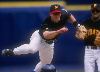 18 Apr 1998:  Infielder Kevin Polcovich of the Pittsburgh Pirates in action during a game against the San Diego Padres at Three Rivers Stadium in Pittsburgh, Pennsylvania.  The Padres won the game, 7-5. Mandatory Credit: Rick Stewart  /Allsport