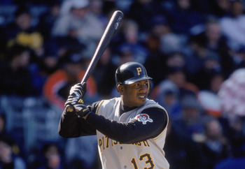 CHICAGO - APRIL 6:  Center fielder Adrian Brown #13 of the Pittsburgh Pirates prepares to swing, during the MLB game against the Chicago Cubs at Wrigley Field in Chicago, Illinois on April 15, 2002. The Pirates won, 6-1. \ (Photo by Jonathan Daniel/Getty