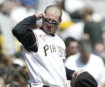 PITTSBURGH, PA- APRIL 10: Jeremy Burnitz #3 of the Pittsburgh Pirates walks onto the field against the Los Angeles Dodgers  on April 10, 2006 at PNC Park in Pittsburgh, Pennsylvania. (Photo by Rick Stewart/Getty Images)