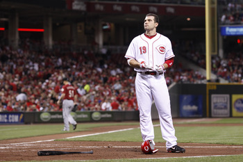 CINCINNATI, OH - SEPTEMBER 28: Joey Votto #19 of the Cincinnati Reds looks on after striking out against the Houston Astros at Great American Ball Park on September 28, 2010 in Cincinnati, Ohio. The Reds won 3-2 to clinch the NL Central Division title. (P