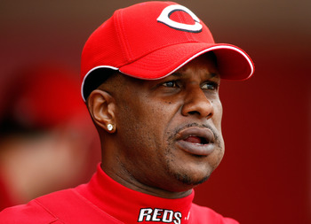 SARASOTA, FL - MARCH 6:  Former outfielder Eric Davis #44 of the Cincinnati Reds cheers on his team against the New York Yankees during the Grapefruit League Spring Training game on March 6, 2008 at Ed Smith Stadium in Sarasota, Florida. (Photo by J. Meri