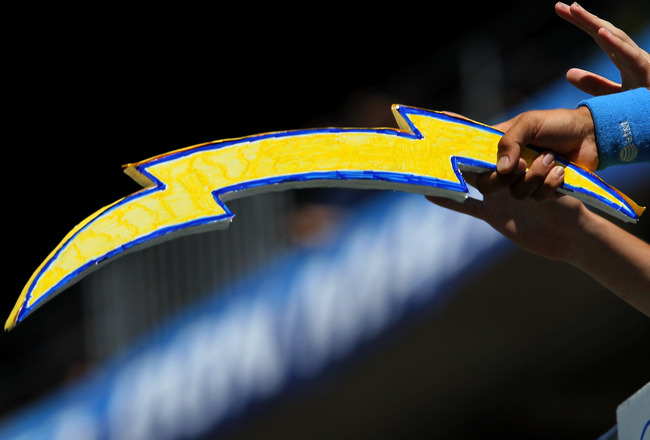 SAN DIEGO - SEPTEMBER 19:  A Charger fan holds a cut out lightning bolt during the game between the Jacksonville Jaguars and the San Diego ChargersQualcomm Stadium on September 19, 2010 in San Diego, California. (Photo by Stephen Dunn/Getty Images)