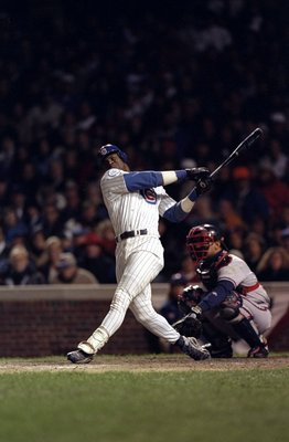 3 Oct 1998:  Right fielder Sammy Sosa #21 of the Chicago Cubs swings at a pitch during game three of the National League Divisional Series against the Atlanta Braves at Wrigley Field in Chicago, Illinois. The Braves defeated the Cubs 6-2. Mandatory Credit