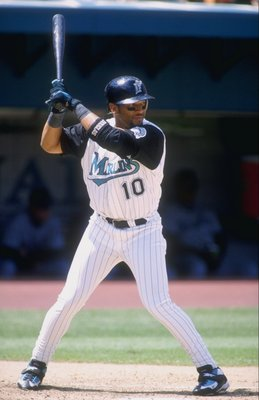 26 Apr 1998:  Outfielder Gary Sheffield of the Florida Marlins in action during a game against the Arizona Diamondbacks at the Pro Player Stadium in Miami, Florida. The Marlins defeated the Diamondbacks 12-6. Mandatory Credit: Scott Halleran  /Allsport