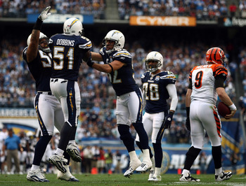 SAN DIEGO, CA - DECEMBER 20:  Shawne Merriman #56, Larry English #52 celebrate Tim Dobbins #51 of the San Diego Chargers stop of quarterback Carson Palmer #9 of the Cincinnati Bengals during the NFL game on December 20, 2009 at Qualcomm Stadium in San Die