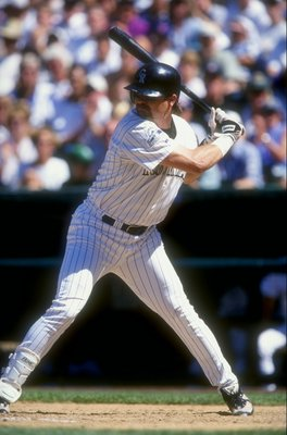 30 Aug 1998:  Larry Walker #33 of the Colorado Rockies waits for a pitch to hit during a game against the Chicago Cubs at Coors Field in Denver, Colorado. The Cubs defeated the Rockies 4-3. Mandatory Credit: Brian Bahr  /Allsport