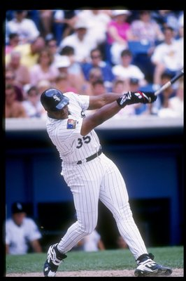 20 Jul 1994: First baseman Frank Thomas of the Chicago White Sox swings at the ball.