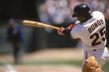 SAN FRANCISCO - MAY 23:  Barry Bonds #25 of the San Francisco Giants hits against the Cinninnati Reds on May 23, 1993 at Candlestick Park in San Francisco, California. Barry Bonds made his187th career home run during this game. (Photo by Otto Greule Jr/Ge