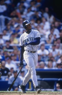 26 Jul 1997:  Outfielder Ken Griffey Jr. of the Seattle Mariners in action during a game against the New York Yankees at Yankee Stadium in Bronx, New York.  The Mariners won the game 9-7. Mandatory Credit: Tomasso DeRosa  /Allsport