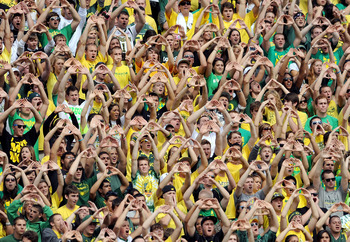 EUGENE, OR - SEPTEMBER 04: The crowd at Autzen Stadium makes some noise during the game between the Oregon Ducks and the New Mexico Lobos on September 4, 2010 in Eugene, Oregon. (Photo by Steve Dykes/Getty Images)