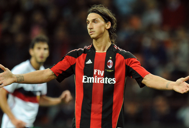 MILAN, ITALY - SEPTEMBER 26:  Zlatan Ibrahimovic of Milan gestures during the Serie A match between Milan and Genoa at Stadio Giuseppe Meazza on September 26, 2010 in Milan, Italy.  (Photo by Tullio M. Puglia/Getty Images)