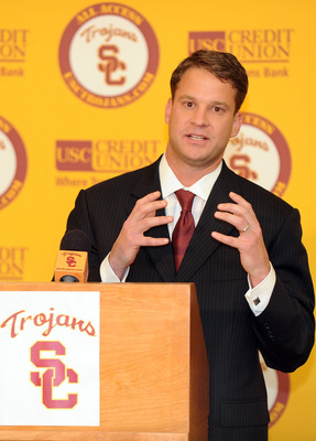 LOS ANGELES, CA - JANUARY 13:  New head coach of the USC Trojans Lane Kiffin speaks to the media during a press conference at Heritage Hall January 13, 2010 in Los Angeles, California.  (Photo by Harry How/Getty Images)