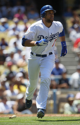 LOS ANGELES, CA - JULY 24:  James Loney #7 of the Los Angeles Dodgers plays against the New York Mets at Dodger Stadium on July 24, 2010 in Los Angeles, California.  (Photo by Jeff Gross/Getty Images)