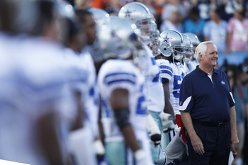 CANTON, OH - AUGUST 8: Head coach Wade Phillips of the Dallas Cowboys stands near his team before the game against the Cincinnati Bengals during the 2010 Pro Football Hall of Fame Game at the Pro Football Hall of Fame Field at Fawcett Stadium on August 8,