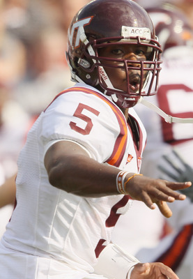 CHESTNUT HILL, MA - SEPTEMBER 25:  Tyrod Taylor #5 of the Virginia Tech Hokies flips the ball in the fourth quarter against the Boston College Eagles on September 25, 2010 at Alumni Stadium in Chestnut Hill, Massachusetts. Virginia Tech defeated Boston Co