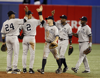 TORONTO, ON - SEPTEMBER 28: The New York Yankees celebrate a post-season berth by beating the Toronto Blue Jays 6-1 during a MLB game at the Rogers Centre September 28, 2010 in Toronto, Ontario, Canada. (Photo by Abelimages/Getty Images)