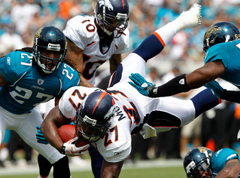 JACKSONVILLE, FL - SEPTEMBER 12:  Knowshon Moreno #27 of the Denver Broncos dives for a firstdown during the NFL season opener game against the Jacksonville Jaguars at EverBank Field on September 12, 2010 in Jacksonville, Florida.  (Photo by Sam Greenwood