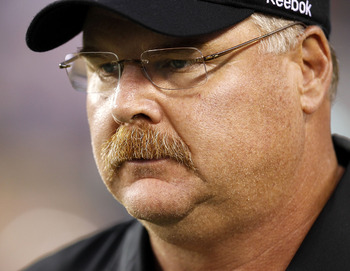 PHILADELPHIA - SEPTEMBER 02: Andy Reid, head coach of the Philadelphia Eagles stands on the sidelines during a preseason game against the New York Jets at Lincoln Financial Field on September 2, 2010 in Philadelphia, Pennsylvania. (Photo by Jeff Zelevansk