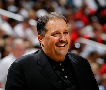 ATLANTA - MAY 08:  Head coach Stan Van Gundy of the Orlando Magic against the Atlanta Hawks during Game Three of the Eastern Conference Semifinals during the 2010 NBA Playoffs at Philips Arena on May 8, 2010 in Atlanta, Georgia.  NOTE TO USER: User expres