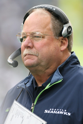 SEATTLE - OCTOBER 12:  Head coach Mike Holmgren of the Seattle Seahawks looks on during the game against the Green Bay Packers on October 12, 2008 at Qwest Field in Seattle, Washington. The Packers defeated the Seahawks 27-17. (Photo by Otto Greule Jr/Get