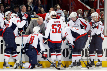 MONTREAL- NOVEMBER 28:  Washington Capitals Head Coach Bruce Boudreau talks to players in the closing seconds of the third period during the NHL game against the Montreal Canadiens on November 28, 2009 at the Bell Centre in Montreal, Quebec, Canada.  The