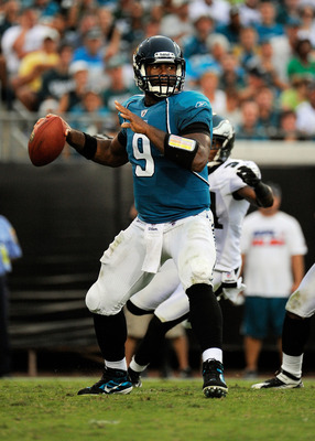 JACKSONVILLE, FL - SEPTEMBER 26:  Quarterback David Garrard #9 of the Jacksonville Jaguars throws a pass against the Philadelphia Eagles at EverBank Field on September 26, 2010 in Jacksonville, Florida. The Eagles defeated the Jaguars 28-3.  (Photo by Dou