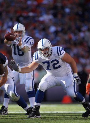 DENVER - SEPTEMBER 26:  Offensive tackle Jeff Linkenbach #72 protects quarterback Peyton Manning #18 of the Indianapolis Colts against the Denver Broncos at INVESCO Field at Mile High on September 26, 2010 in Denver, Colorado. The Colts defeated the Bronc