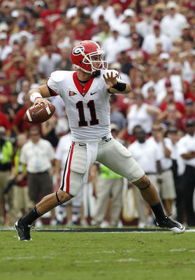 COLUMBIA, SC - SEPTEMBER 11:  Quarterback Aaron Murray #11 of the Georgia Bulldogs throws a pass during the game against the South Carolina Gamecocks at Williams-Brice Stadium on September 11, 2010 in Columbia, South Carolina.  The Gamecocks beat the Bull