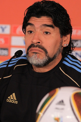 JOHANNESBURG, SOUTH AFRICA - JUNE 26:  Argentina's head coach Diego Maradona speaks to the media during a press conference at Loftus Versefeld Stadium on June 26, 2010 in Pretoria, South Africa.  (Photo by Chris McGrath/Getty Images)