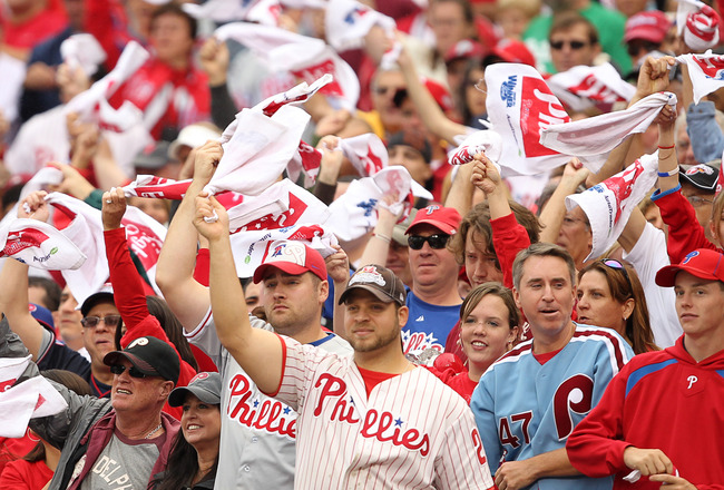 PHILADELPHIA - SEPTEMBER 26: Philadelphia Phillies fans wave rally towels during a game against the New York Mets at Citizens Bank Park on September 26, 2010 in Philadelphia, Pennsylvania. (Photo by Hunter Martin/Getty Images)