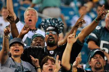 JACKSONVILLE, FL - SEPTEMBER 26:  Eagles fans cheer late in the game as the Philadelphia Eagles take on the Jacksonville Jaguars at EverBank Field on September 26, 2010 in Jacksonville, Florida. The Eagles defeated the Jaguars 28-3.  (Photo by Doug Benc/G