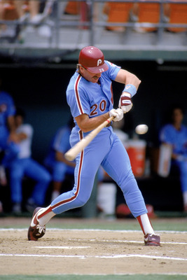 SAN DIEGO - 1988: Third baseman Mike Schmidt #20 of the Philadelphia Phillies swings at a pitch against the San Diego Padres during the 1988 season at Jack Murphy Stadium in San Diego, California. (Photo by: Rick Stewart/Getty Images)