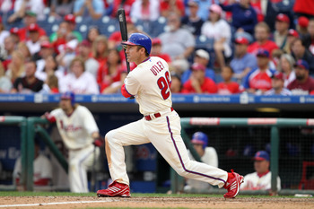 PHILADELPHIA - SEPTEMBER 26: Second baseman Chase Utley #26 of the Philadelphia Phillies bats during a game against the New York Mets at Citizens Bank Park on September 26, 2010 in Philadelphia, Pennsylvania. The Mets won 7-3. (Photo by Hunter Martin/Gett
