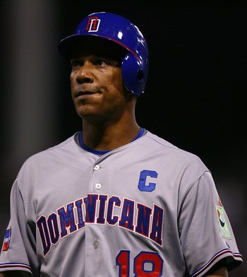 SAN JUAN, PUERTO RICO - MARCH 10:  Moises Alou #18  of The Dominican Republiclooks on against The Netherlands during the 2009 World Baseball Classic Pool D match on March 10, 2009 at Hiram Bithorn Stadium in San Juan, Puerto Rico.  (Photo by Al Bello/Gett