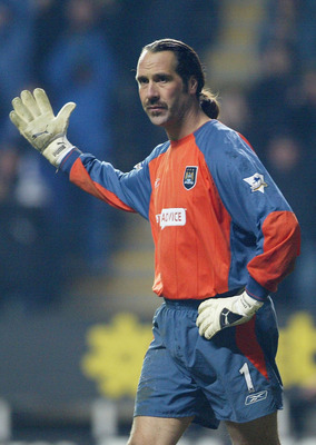 NEWCASTLE, ENGLAND - NOVEMBER 22:  David Seaman of Man City after the third goal during the Barclaycard Premiership match between Newcastle United and Manchester City at St. James Park on November 22, 2003 in Newcastle, England.  (Photo by Laurence Griffi