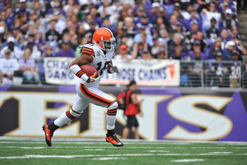 BALTIMORE - SEPTEMBER 26:  Joshua Cribbs #16 of the Cleveland Browns returns a kickoff against the Baltimore Ravens  at M&T Bank Stadium on September 26, 2010 in Baltimore, Maryland. The Ravens defeated the Browns 24-17. (Photo by Larry French/Getty Image
