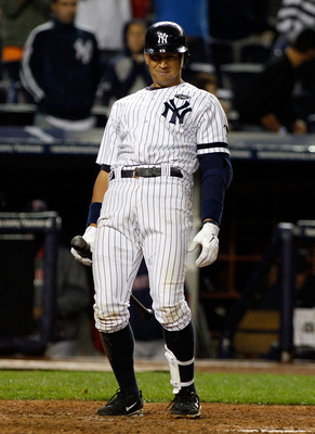 NEW YORK - SEPTEMBER 26:  Alex Rodriguez #13 of the New York Yankees reacts to a called strike against the Boston Red Sox on September 26, 2010 at Yankee Stadium in the Bronx borough of New York City.  (Photo by Mike Stobe/Getty Images)