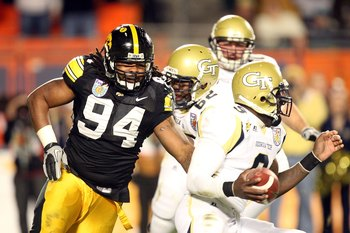 MIAMI GARDENS, FL - JANUARY 05:  Adrian Clayborn #94 of the Iowa Hawkeyes rushes the quarterback against the Georgia Tech Yellow Jackets during the FedEx Orange Bowl at Land Shark Stadium on January 5, 2010 in Miami Gardens, Florida.  (Photo by Streeter L