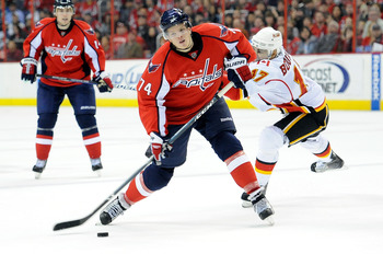 John Carlson taking a shot against the Calgary Flames in a 2010 contest.