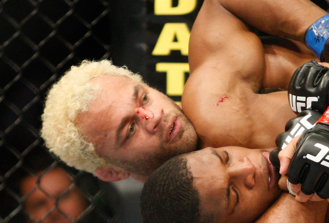 MONTREAL- MAY 8: Josh Koscheck (L) holds on to Paul Daley in their welter weight bout at UFC 113 at Bell Centre on May 8, 2010 in Montreal, Quebec, Canada.  (Photo by Richard Wolowicz/Getty Images)