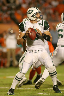 MIAMI - SEPTEMBER 26: Quarterback Mark Sanchez #6 of the New York Jets plays against the Miami Dolphins at Sun Life Stadium on September 26, 2010 in Miami, Florida. The Jets won 31-23. (Photo by Marc Serota/Getty Images)