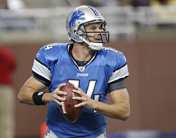 DETROIT - SEPTEMBER 19:  Shaun Hill #14 of the Detroit Lions drops back to pass during the game against the Philadelphia Eagles at Ford Field on September 19, 2010 in Detroit, Michigan. The Eagles defeated the Lions 35-32.  (Photo by Leon Halip/Getty Imag