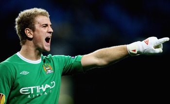 MANCHESTER, ENGLAND - SEPTEMBER 30:  Joe Hart of Manchester City in action during the UEFA Europa League Group A match between Manchester City and Juventus FC at City of Manchester Stadium on September 30, 2010 in Manchester, England.  (Photo by Matthew L