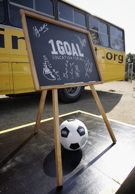 JOHANNESBURG, SOUTH AFRICA - JUNE 23:  A blackboard is displayed featuring autographs of attendees during the 1Goal launch of the Qatar FA project 'Education at Your Feet' at the Wanderers in Illovo on June 23, 2010 in Johannesburg, South Africa.  (Photo